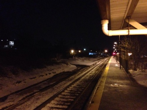 Dark cold train station